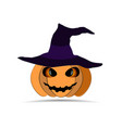 happy halloween pumpkin in witchs hat isolated on vector image
