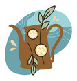 herbal tea kettle with lemon slices and leaves vector image