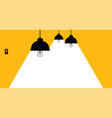 lighting lamp with white rays on a yellow vector image vector image