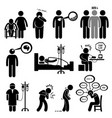 man common diseases and illness stick figure vector image vector image