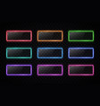 neon color button set glowing line rectangle vector image