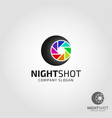night shot photography camera logo vector image