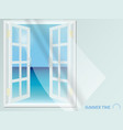 open window with light curtain view sea vector image