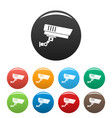 outdoor security icons set color vector image