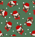 pug santa claus dog with red scarf on green vector image vector image