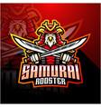samurai rooster esport mascot logo vector image vector image