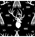 seamless pattern with deer heads and wigwams vector image vector image