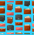 seamless pattern with various leather purses vector image