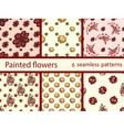 Set vintage flowers seamless pattern vector image