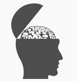 silhouette brain inside open head drawing vector image