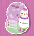 snowman happy merry christmas tag vector image
