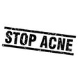 square grunge black stop acne stamp vector image vector image
