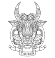 Taurus zodiac sign coloring book for adults vector image
