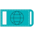 ticket with earth globe diagram icon vector image vector image