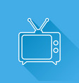 tv icon in line style isolated on blue background vector image vector image