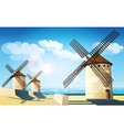 windmills on the banks vector image vector image