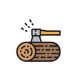 wooden deck and ax flat color line icon vector image vector image