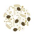 leafs gold decorative icon vector image