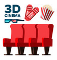 3d cinema icons popcorn red seats vector image vector image