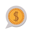 3d silhouette dialog with dollar coin vector image