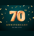 70th anniversary sign with falling confetti vector image vector image
