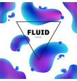 abstract fluid holographic colors shape with text vector image vector image