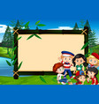 banner template design with kids in park vector image vector image