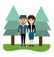 beauty couple together with pine trees vector image vector image