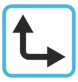 Bifurcation Arrow Right Up Icon In a Frame vector image