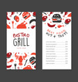 bistro gril menu template design barbecue house vector image vector image