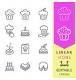 cake - line icon set editable stroke vector image