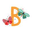 capital letter b childish english alphabet vector image