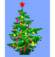 cartoon Christmas tree decorated vector image