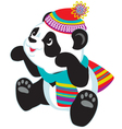 cartoon panda wearing scarf vector image vector image
