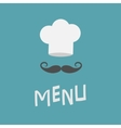 Chef hat and big mustache Menu card Curl vector image vector image