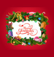 christmas wreath with xmas gifts greeting card vector image vector image