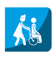 color square frame with nurse helping to person in vector image