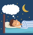 colorful scene boy dreaming in bed at night vector image vector image