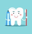 cute cartoon tooth character brushing with vector image vector image