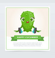 cute humanized cucumber vegetable character happy vector image vector image