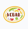 doner kebab banner with ingredients on plate vector image