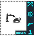 excavator icon flat vector image vector image