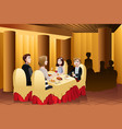 family eating out in a restaurant vector image vector image