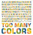 flat color alphabet vector image vector image