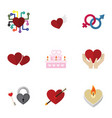 flat icon heart set of wings emotion heart and vector image