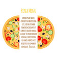 flat vegetarian pizza menu margherita with tomato vector image