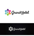 flower grand hotel logo design symbol vector image