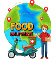 food delivery logo with bike man or courier vector image vector image