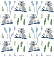 hand drawn seamless pattern with koala mother and vector image vector image