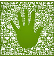 Hand with green icons background vector image